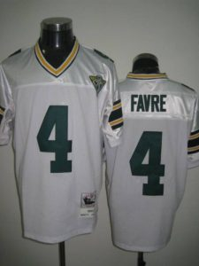 100% authentic ad297 c96a7 Mitchell & Ness Packers #4 Brett Favre White With 75th Patch ...